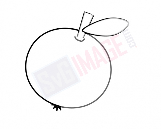 Apple SVG image - Apple Art line Vector drawing Illustration