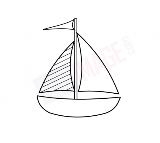 Yacht Boat SVG image - Yacht Boat Art line Vector drawing Illustration